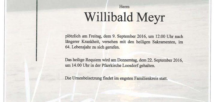 Ableben von Willibald Meyr